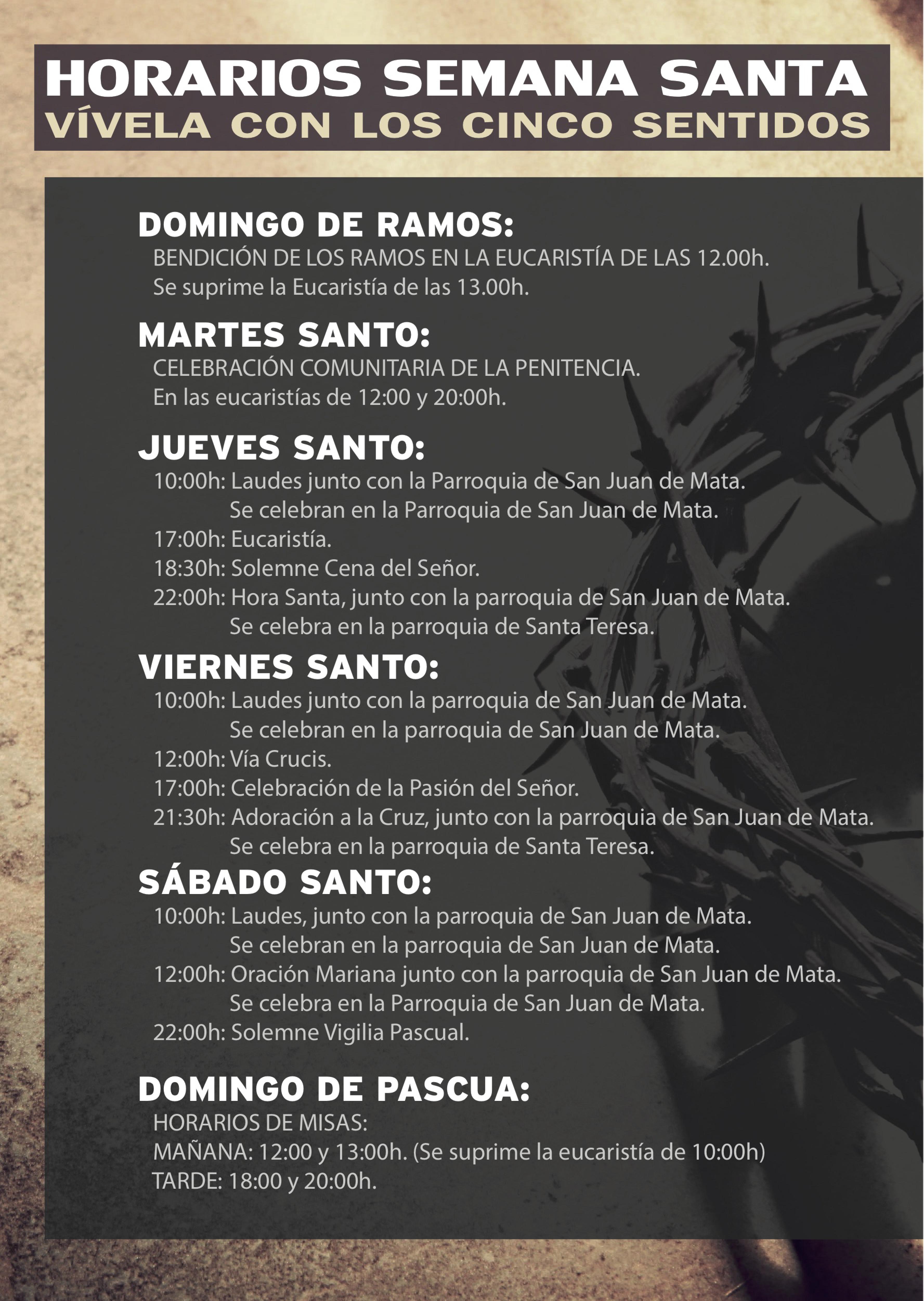 Calendario Perpetuo Semana Santa.Horarios Semana Santa 2018 Parroquia Santa Teresa