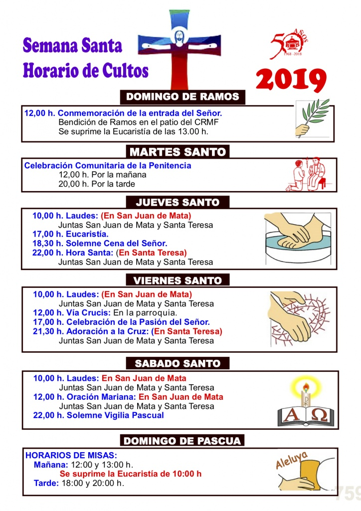 Calendario Perpetuo Semana Santa.Horarios Semana Santa Parroquia Santa Teresa